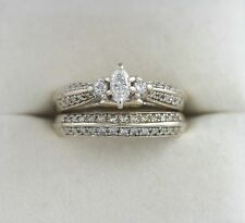 Leo Schachte 14K WG 1 CTW Ct Marquise Diamond Wedding Bridal Ring Set Engagement