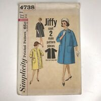 Vintage Jiffy EASY Sewing Pattern 4738 Size 14 Reversible Womens Coat Jacket 60s