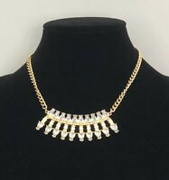 Statement Necklace Gold Tone Diamante Collar Length Sparkly Holiday Cruise Gift