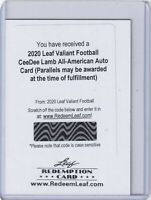 CeeDee Lamb 2020 Leaf Valiant All-American Rc Auto Redemption