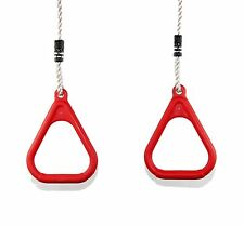 HIKS® Red Adjustable Gym Rings for Childrens Kids Outdoor Climbing Frame Swings