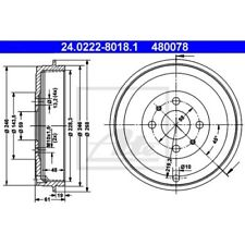 SATZ 2x ATE Bremstrommel ALFA ROMEO 145 (930)  ALFA ROMEO 146 (930)  FIAT DOBLO
