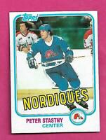 1981-82 TOPPS # 39 NORDIQUES PETER STASTNY ROOKIE NRMT-MT CARD (INV# D7829 )