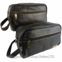 NEW Mens Rowallan QUALITY Leather Slimline Wash Bag Travel in Black or Brown