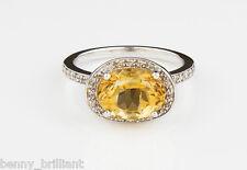 14K Solid White Gold Citrine Pave Diamond Ring