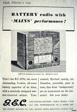 1949 'G.E.C' Model BC4956 5-Valve Battery Radio Print ADVERT - Small Original Ad