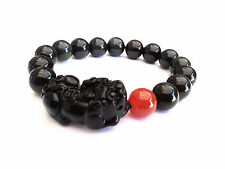 Feng Shui Obsidian Pi Yao / Pi Xiu Bracelet  with red agate bead for wealth luck