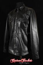 Men's ROCKER Black Western Trucker Cowboy POLICE Long Sleeve Real Leather Shirt