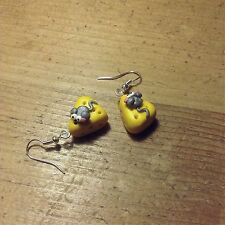 earrings Drops Mouse On Cheese Handmade Fimo Cute Valentines Gift ideas birthday