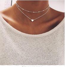 Silver Gold Necklace Double Layer Beaded Chain Choker Heart Pendant Girls Women