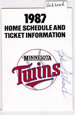 1987 Bob Gebhard Autograph Minnesota Twins Home Schedule Super America AUTO