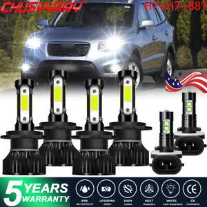 For Hyundai Santa Fe 2007-2009 6000K LED Headlight High Low Beam Fog Light Bulbs