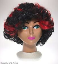 Wig Short Black With Red Highlights Curly Crimped Synthetic Hair Costume Wig