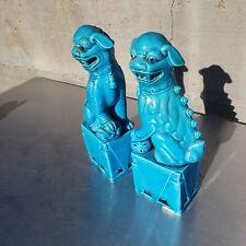 Great set of 2 vintage chinese glazed ceramic foo dogs