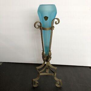Vintage Blue Satin Glass hexagonal Car Flower vase epergne in Art Deco Stand