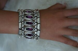 "NWT Uno De 50 Silver Fuchsia Elements Crystal ARMOR Thick Statemnt Bracelet 7.5"""