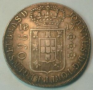 1817 Brazil 960 Reis Silver in XF Condition from Old estate KM# 307.3  (Z345)
