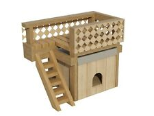 Dog House Plans w/ Roof Deck DIY Small Outdoor Wooden Kennel Pet Home Shelter