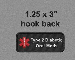 2 Embroidered hook sided  - Type 2 Diabetic Oral Meds