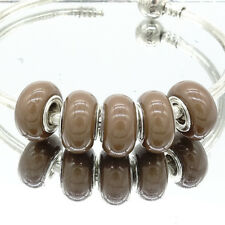 5pcs silver european MURANO Charm Beads Fit 925 Bracelet Necklace Chain  coffee