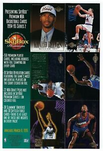 1994-95 SkyBox  Premium NBA Basketball Cards Over Size PROMO Card Sheet.