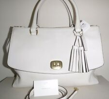 NWT COACH 25356 LEGACY LEATHER PINNACLE LARGE HARPER SATCHEL BRASS WHITE $598