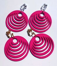 HOT DEEP PINK FUN HOOPS CLIP ON EARRINGS (hook options)