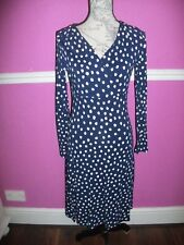 BNWT NEW L.K. BENNETT NAVY WHITE SPOTTED STRETCH JERSEY  APRIA DRESS 10 look