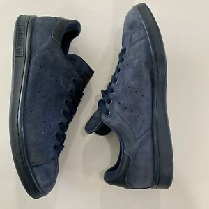 ADIDAS Mens Stan Smith Night Indigo Blue Suede Leather Shoes S75107 Size 9