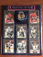 Chicago Blackhawks Hockey Plaque Cards & Puck Chelios Daze Probert Savard Amonte