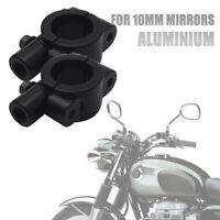 "2X Motorcycle Bike Handlebar Mirror Mount AdapterHolder Clamp 10mm Black 7-8"""