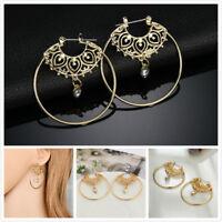 Fashion Women Gold Plated Crystal Rhinestone Hollow Flower Big Circle Earrings