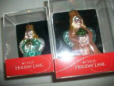 Lot of 2 Macys Holiday Lane Angel Ornament 1 Pink & 1 Baby Blue