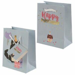Happy Purrthday Feline Fine Cat Gift Bag - Small Birthday Present 14x11cm