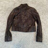 TOPSHOP Womens Biker Real Leather Jacket UK 12 Medium Brown