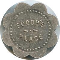 Scoop's Place Ovando, Montana MT  12½¢ One Bit Scalloped Trade  Token