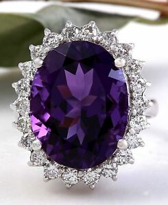 10.85 Carats Natural Amethyst and Diamond 14K Solid White Gold Ring