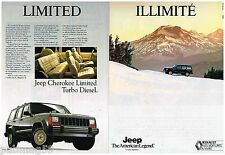 Publicité Advertising 1990 (2 pages) Jeep Cherokee Limited Turbo Diesel
