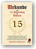 Geschenkidee zum 15. Geburtstag Urkunde ausgefallenes besonderes Geschenk NEU