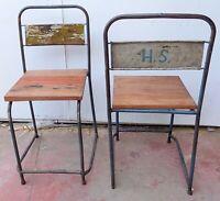Chaise en Fer et Bois En Style Industrial Original Années 70