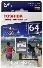TOSHIBA EXCERIA 64GB SD SDXC UHS-I U3 R 95MB W 60MB MEMORY CARD 64G 4K Ultra HD