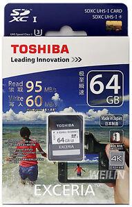 TOSHIBA EXCERIA 64 GB SD SDXC UHS-I U3 R 95MB W 60MB MEMORY CARD 64G 4K Ultra HD