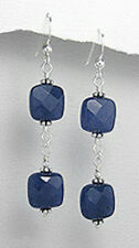 Solid Sterling Silver 55mm Double Blue Sapphire Square Hook Dangle Earrings 6g