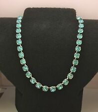 Cup Chain Necklace  Made With Genuine Swarovski Crystal Lt. Turquoise