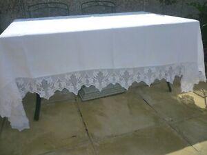 exlg outstanding antique Irish linen damask tablecloth deep hand crochet border