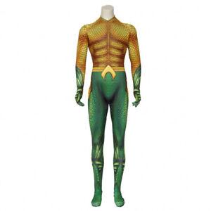 Aquaman Cosplay Costume Men Jumpsuit Bodysuit Adult Halloween Party Zentai Suit