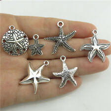 Mixed 1set=6X Ocean Beach Sea Theme Star Fish Starfish Pendant Antique Silver