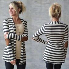Women Cardigans Long Sleeve Cardigans Loose Coats Tops Autumn Striped Outwear