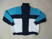 VINTAGE Nike Sweater Adult Large Green Blue Color Block Swoosh Mens 90s *