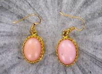 Peruvian Pink Opal Earrings  in  14kt Rolled Gold Settings - opal jewelry